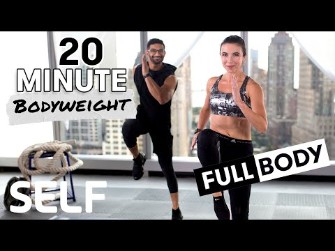 20-Minute HIIT Full Body Bodyweight Workout - No Equipment at Home | SELF