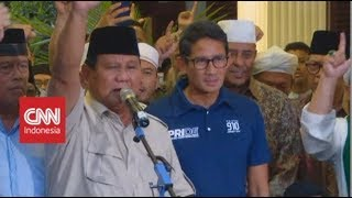Ditemani Sandi, Prabowo Deklarasikan Kemenangan Sebagai Presiden & Wapres 2019-2024