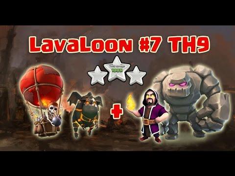 Best TH9 3 Star War Attack Strategy ( Lava + Balloon + Golem + Wiz ) Clash Of Clans - 2017