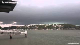 Incredible lightning strike on Oyster Bay in Sydney, Australia
