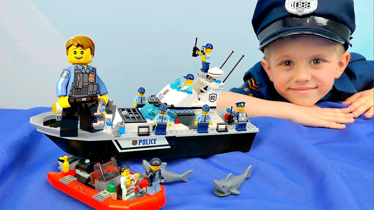 Лего Сити 60129 Полицейский Патрульный КАТЕР Чейз МакКейн и арест злого профессора. Lego City Patrol