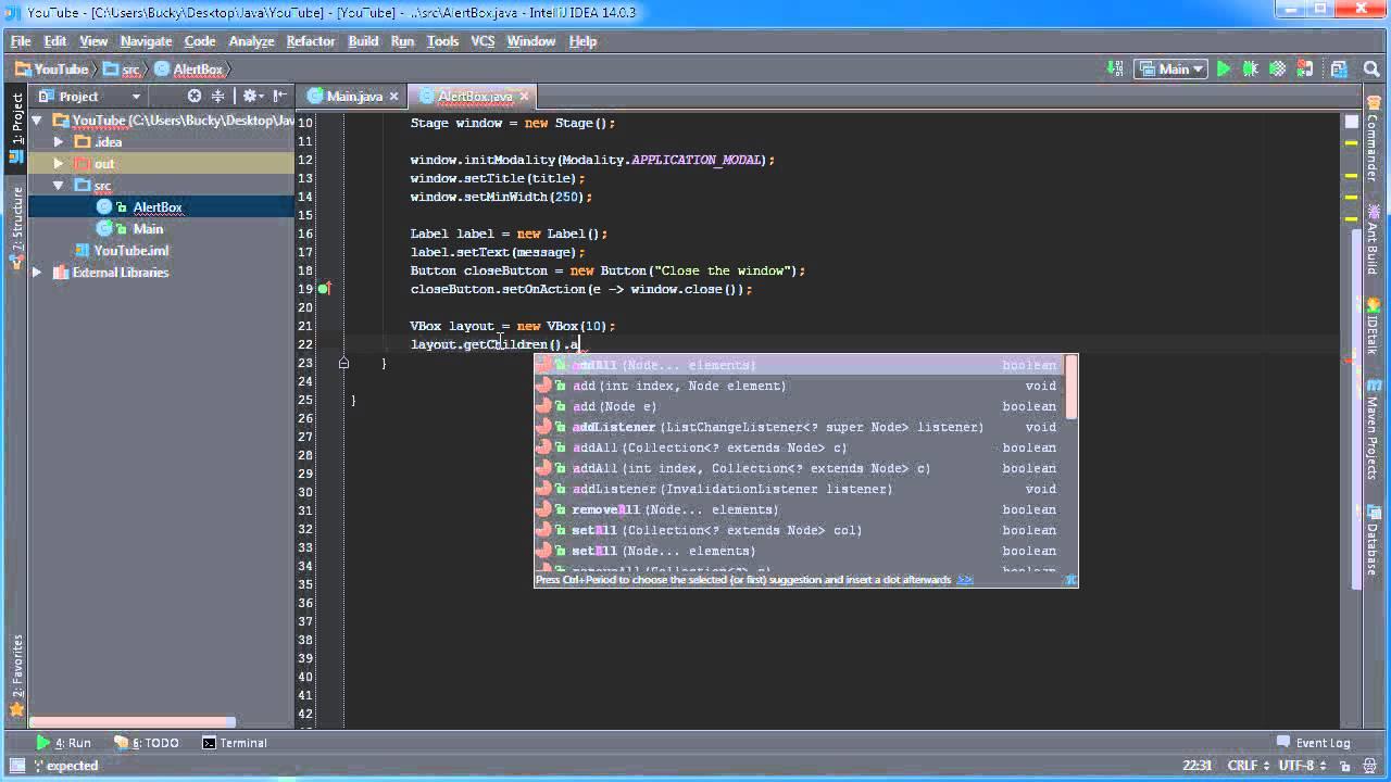 JavaFX Java GUI Tutorial - 5 - Creating Alert Boxes - YouTube