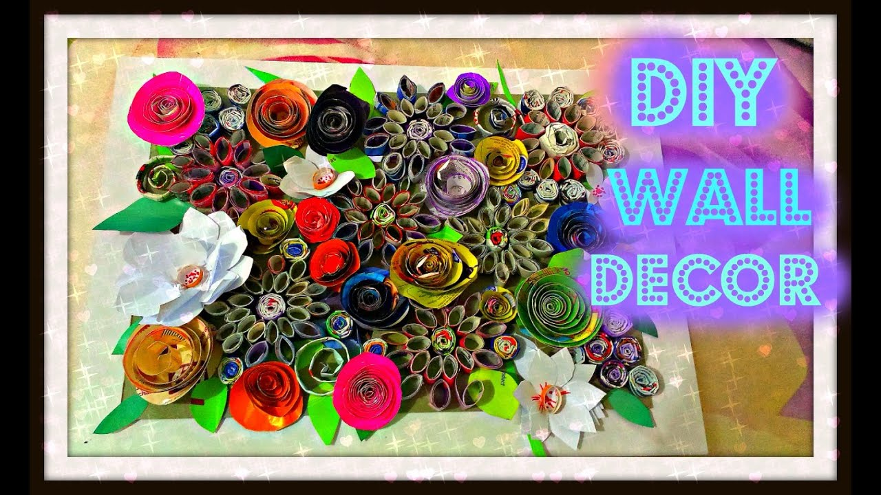 Diy wall decor with paper youtube - Magazine wall decor ...
