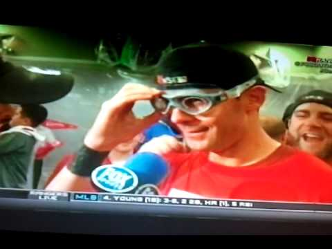 Mike Napoli crashes Michael Young's interview.