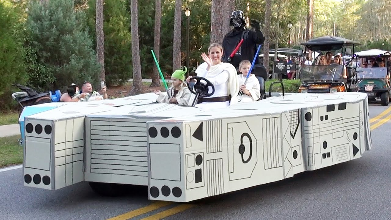disneys fort wilderness halloween golf cart parade 2015 incl millenium falcon monorail minion youtube