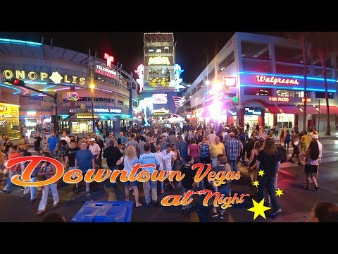 Las Vegas Downtown Fremont Street - casual walk through night time