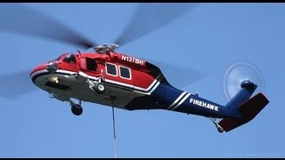 WILDLAND FIRE HELICOPTER AIR ATTACK SKY CRANE, BLACK HAWK, HUEY