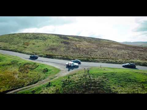 Drone flight, a road through the Forest of Bowland, UK