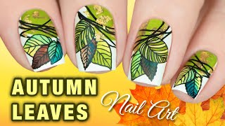 🍂 FALL LEAVES NAILS 🍃 Layered Stamping Nail Art with Clear Jelly Stamper
