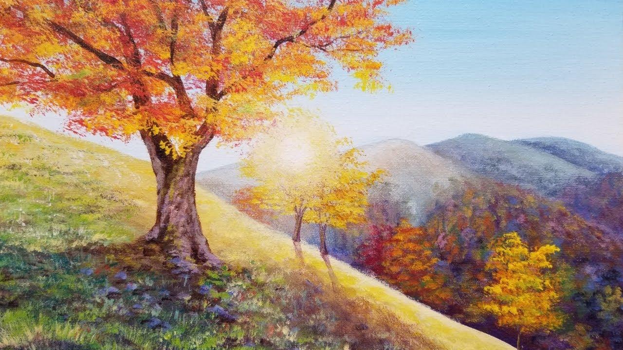 Autumn Trees Landscape Acrylic Painting Live Tutorial Youtube