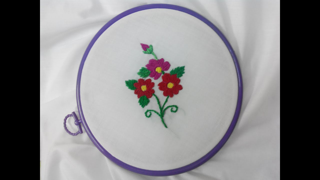Hand embroidery kashmiri red flower stitch youtube