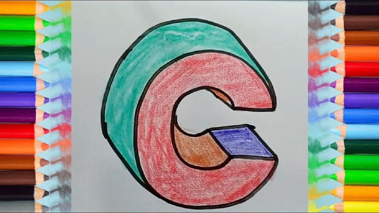 3D trick art - How to draw letter C in 3D | coloring pages for kids ...