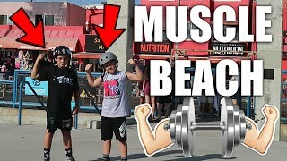 KIDS WORKOUT AT MUSCLE BEACH!