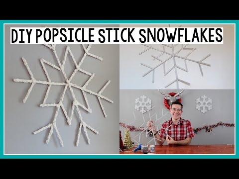 DIY Popsicle Stick Snowflakes | Holiday Room Decor