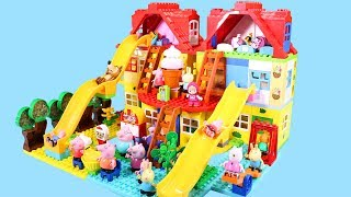 Peppa Pig Legos House Construction Sets - Lego Duplo House With Water Slide Toys For Kids #6