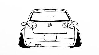 How To Draw a Car Volkswagen Golf Step by Step  Araba Çizimi Volkswagen Golf