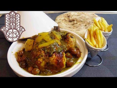 poulet-aux-olives-et-frites