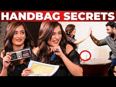 Akshara Haasan Handbag Secrets Revealed by VJ Ashiq   Whats Inside The Handbag