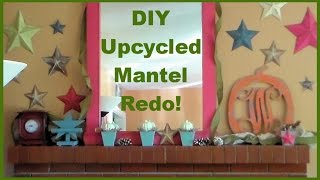 "DIY Fireplace Mantle Fall Redo with Upcycling & Martha Stewart Crafts! (Learn to make ""Barn Stars!"")"