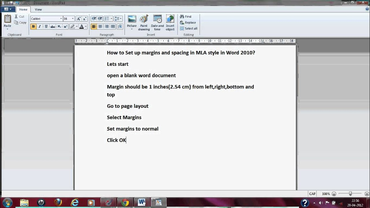 setting your essay to mla format in word 2010