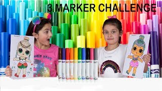 3 MARKER CHALLENGE! SIS vs SIS 😄 With LOLs