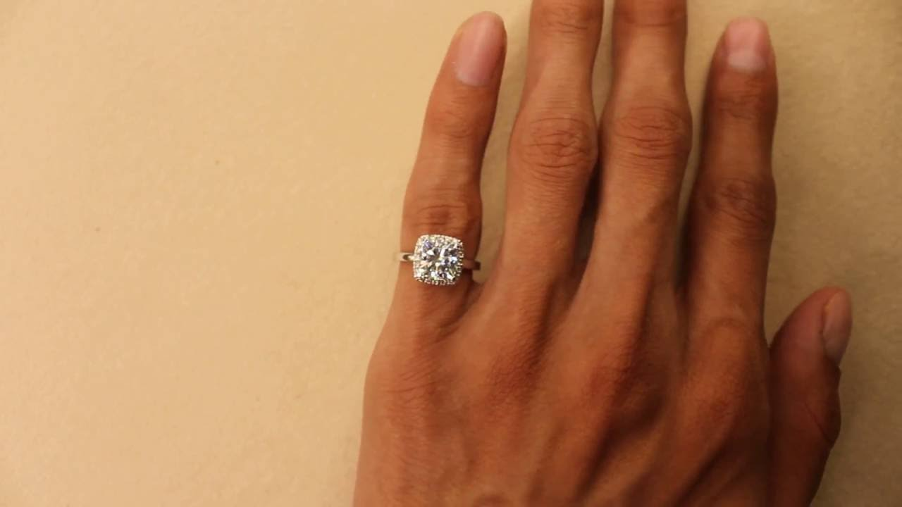 78450265d333e (7.5mm) 2.20 Carat Cushion Forever One Moissanite & Diamond Halo 14k White  Gold Raven Fine Jewelers