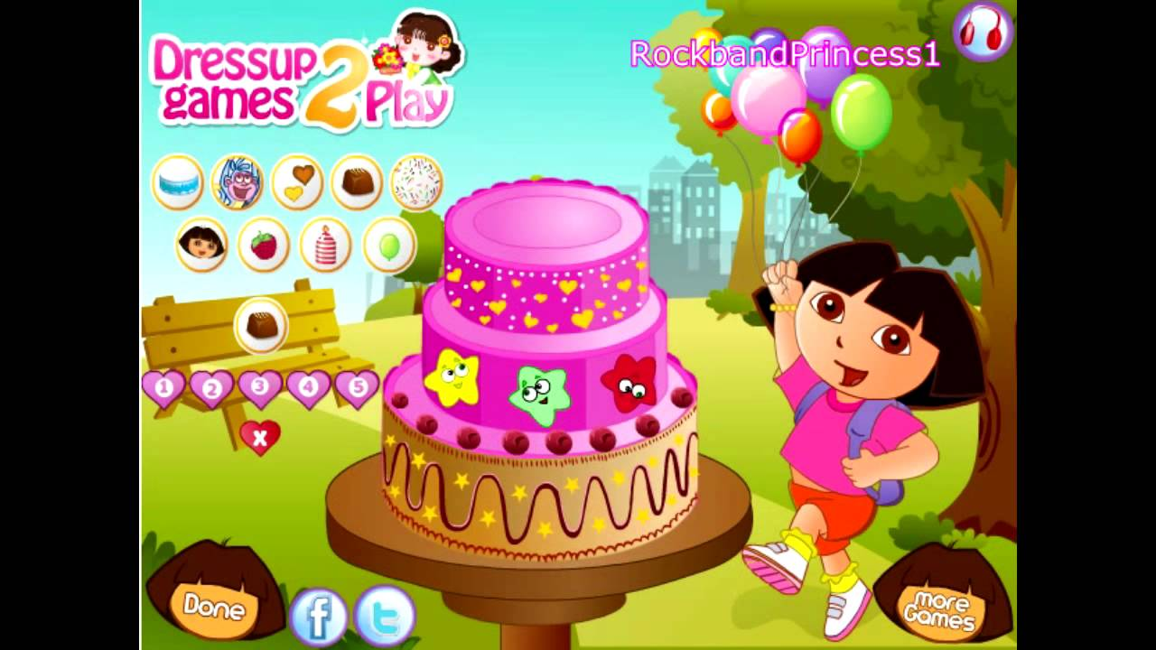 Dora Birthday Cake Decor Game