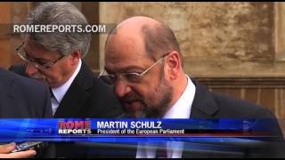 Pope Francis gives advice to Martin Schulz, president of the European Parliament