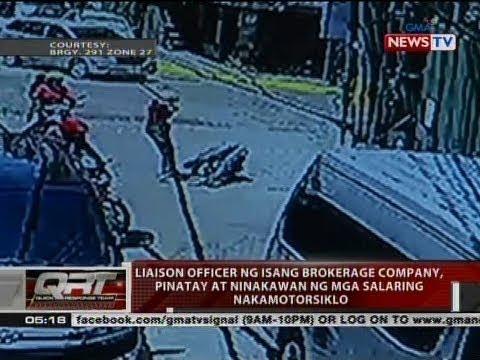 Liaison officer ng isang brokerage company, pinatay at ninakawan ng mga salaring nakamotorsiklo