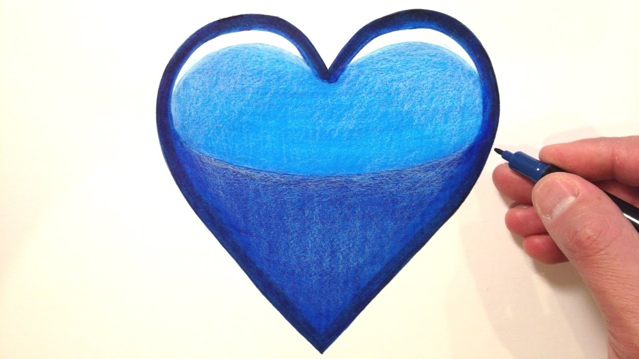 how to draw a blue heart emoji youtube