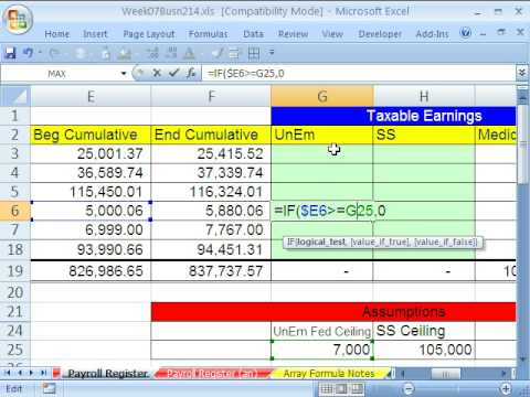 Highline Excel Class 34 IF function Formula Payroll Formula - YouTube