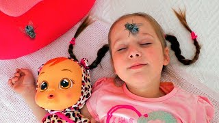 Yulya and Baby doll vs Pesky Flies Funny story for kids