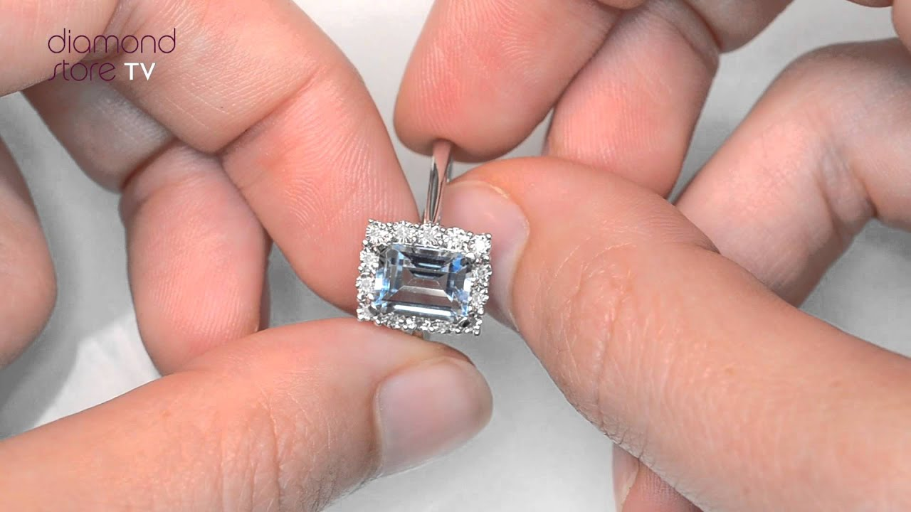 Blue Topaz 8 x 6mm and Diamond 9K White Gold Ring - E5899 - YouTube