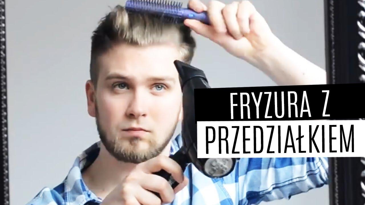 Układanie Męskich Włosów Fryzura Z Odcięciem Z Przedziałkiem