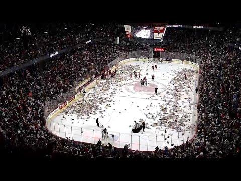 Hockey Fans Chuck Thousands Of Teddy Bears Onto Ice