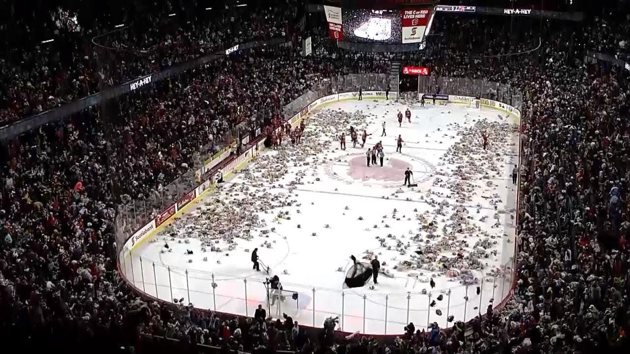 Hockey Fans Chuck Thousands of Teddy Bears Onto Ice