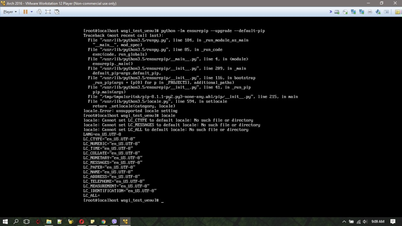 pyvenv error - unsupported locale setting