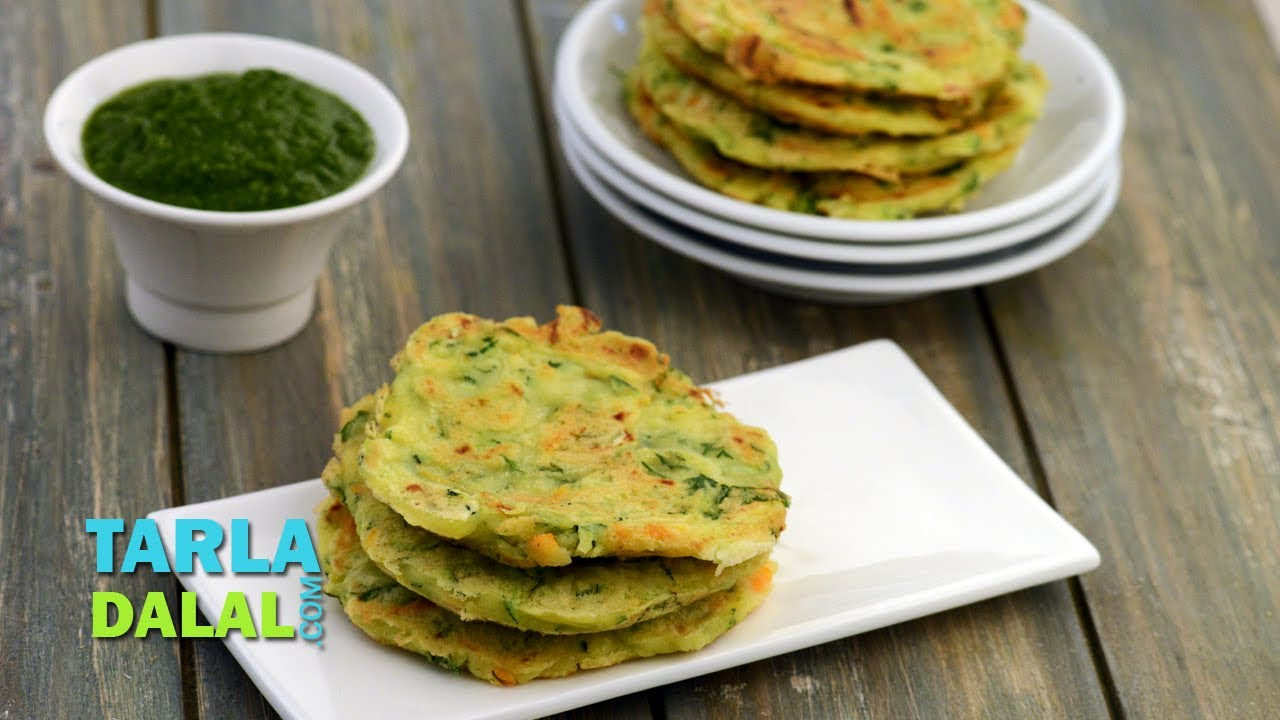 Zucchini And Carrot Pancake Low Calorie Healthy Breakfast By Tarla Dalal