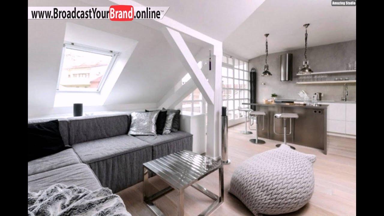 Wohnzimmer Mit Küche Grau Metall Oberflächen Skandinavisch