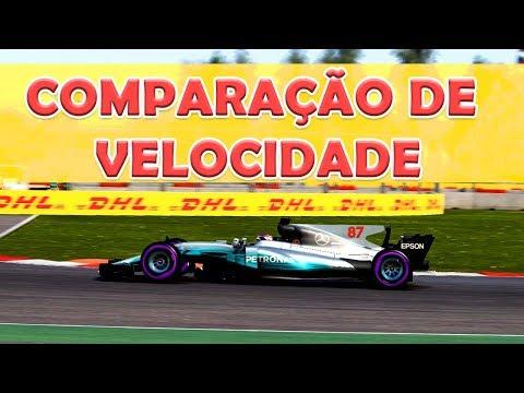F1 2017 - Comparação Velocidade MÁXIMA - CARROS de TODAS as ERAS