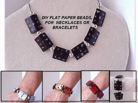 diy paper beads - FLAT BLACK PAPER BEADS for necklace or bracelet