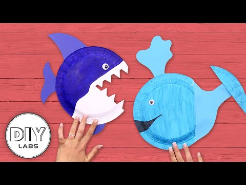 BABY WHALE & SHARK Paper Plate Crafts | Fast-n-Easy | DIY Arts & Crafts for Kids