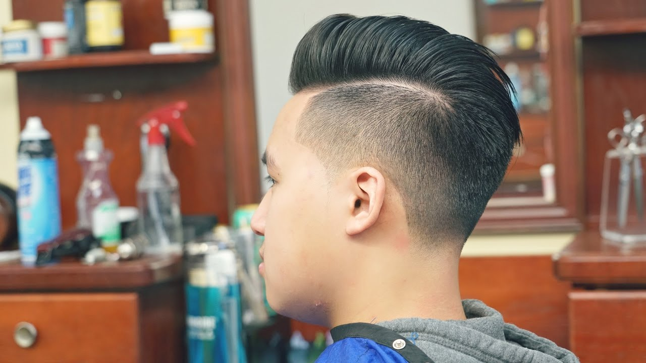 How To Cut Straight Thick Hair Undercut With Pompadour YouTube - Hairstyle undercut terbaru