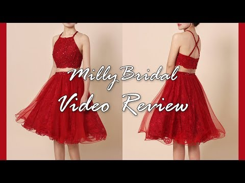 homecoming-dresses-|-red-princess-two-piece-lace-tulle-short-prom-dress---millybridal-video-review
