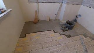 Укладка длинной Плитки под дерево. Пол. Кухня, коридор. Палубный метод. Мастер класс.