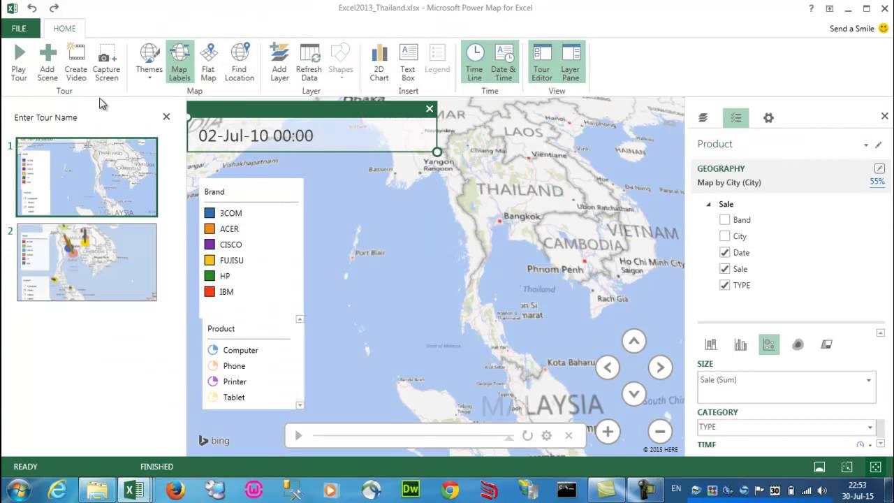 also excel part power map thai language youtube rh