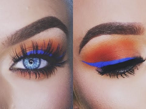 sunset eyes blue eyeliner makeup tutorial naomi youtube