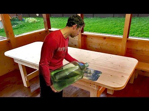 Простой стол из дерева своими руками, большой. массивный в беседку для дачи, деревянная мебель