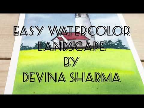 Easy watercolor landscape by devina sharma