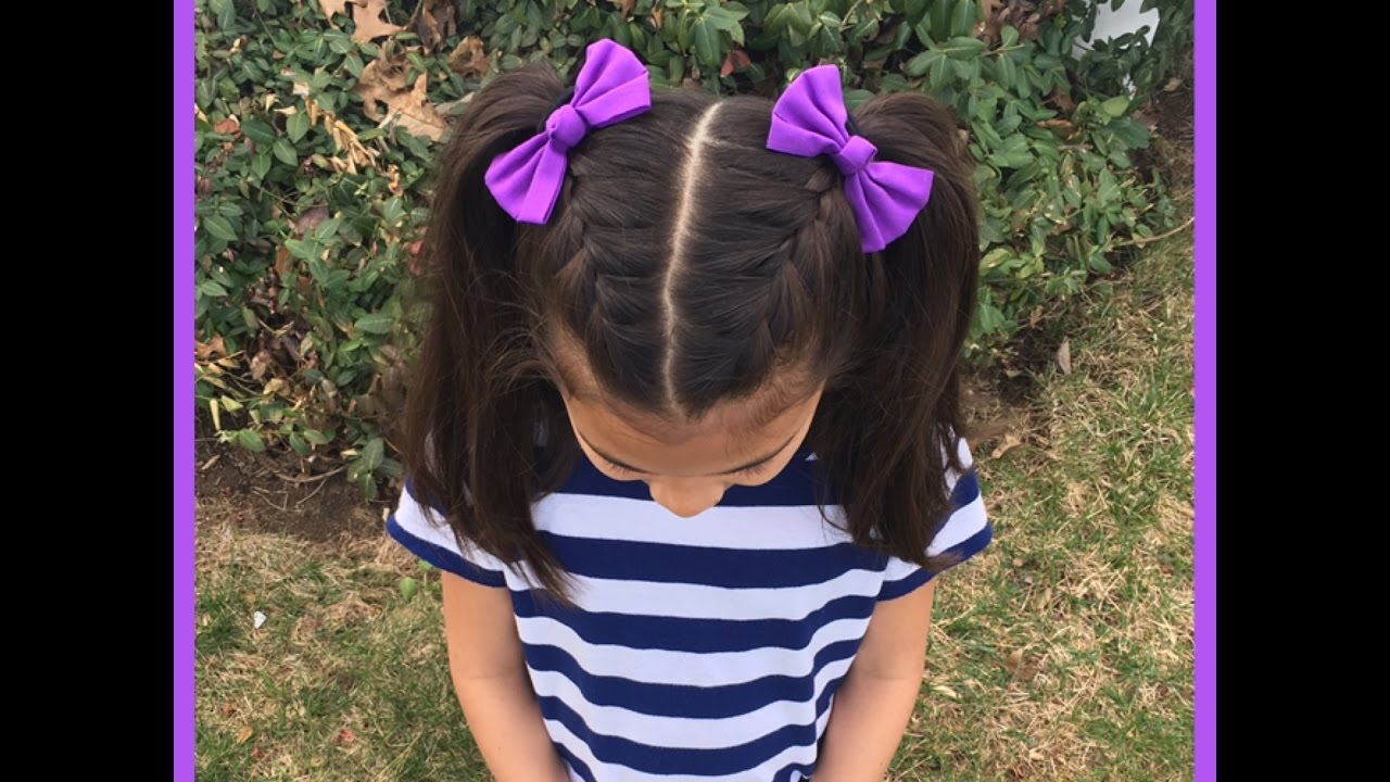 French Braids Into High Pigtails